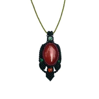 Fire Agate Macrame Necklace by Designer Coco Paniora Salinas of RUMI SUMAQ