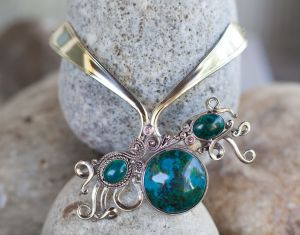 Rumi Sumaq Fork Necklace with Chrysocolla Stones