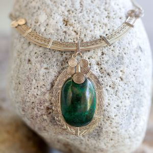 Mixed Metal Necklace with Chrysocolla Stone by Coco Paniora Salinas of Rumi Sumaq