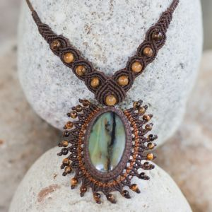 Rumi Sumaq Macrame Necklace with Peruvian Opal and Tiger's Eye Stones