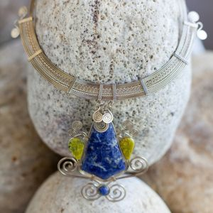 Mixed Metal Necklace with Sodalite and Serpentine Stones by Coco Paniora Salinas of Rumi Sumaq