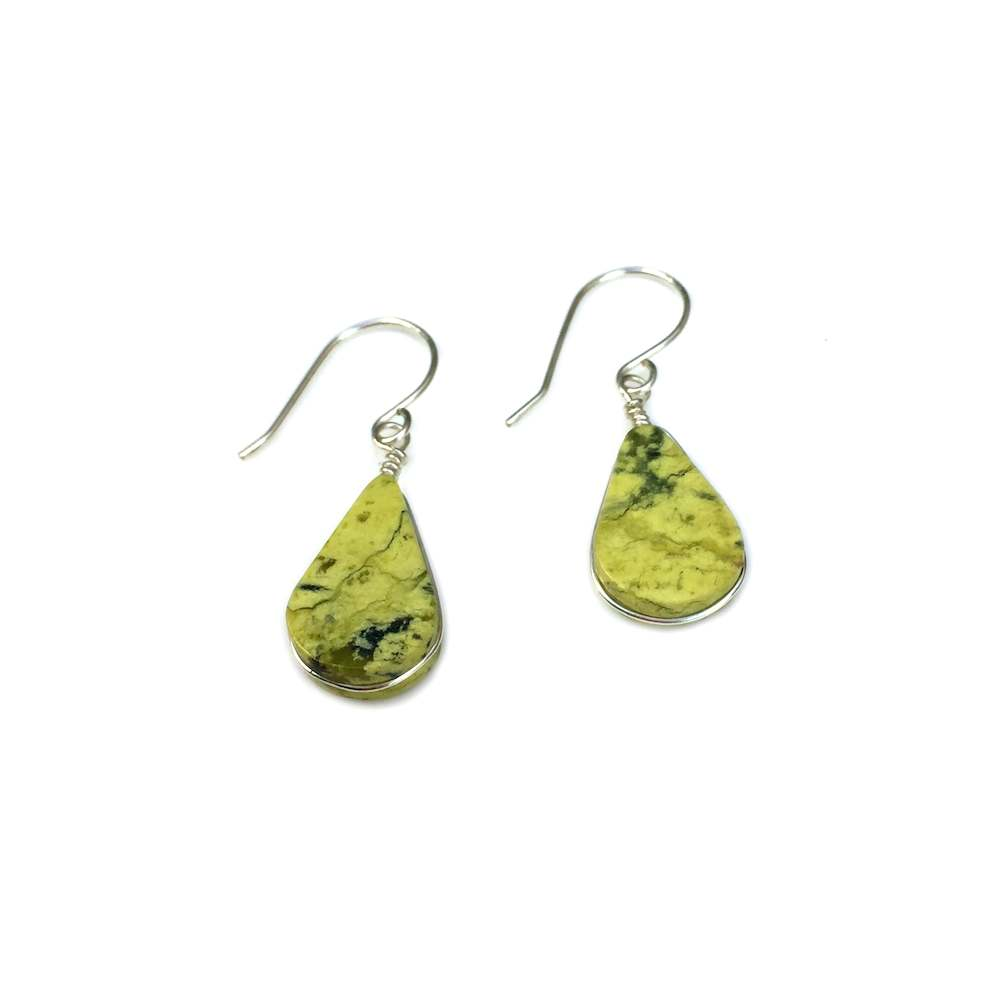 Green Serpentine earrings by designer Coco Paniora Salinas of Rumi Sumaq