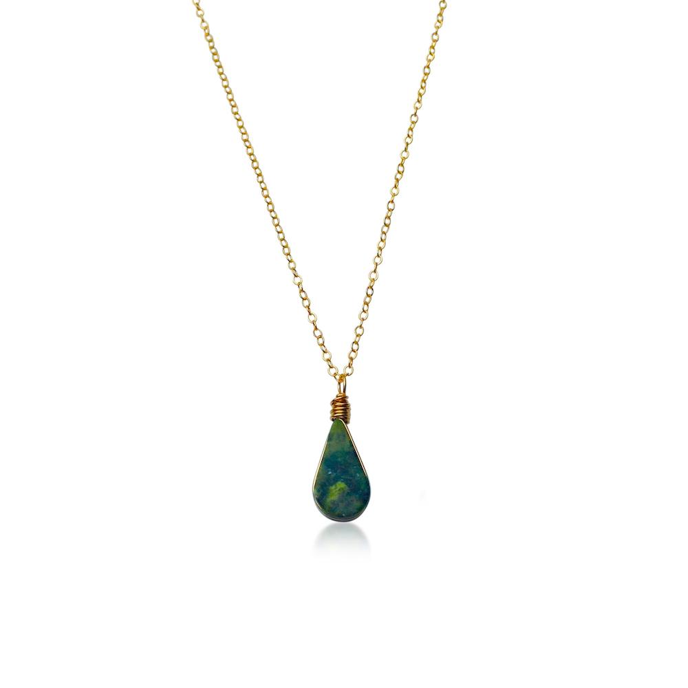 Green Serpentine Pendant Necklace by RUMI SUMAQ Jewelry