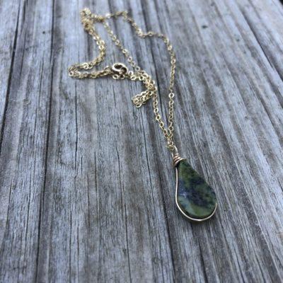 Green Serpentine Pendant Necklace by RUMI SUMAQ Jewelry. Handmade on Martha's Vineyard.