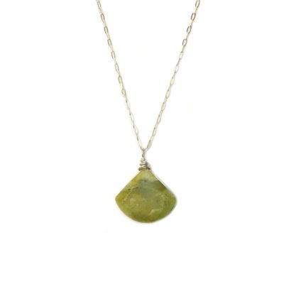 Green triangle necklace Serpentine stone by designer Coco Paniora Salinas of RUMI SUMAQ