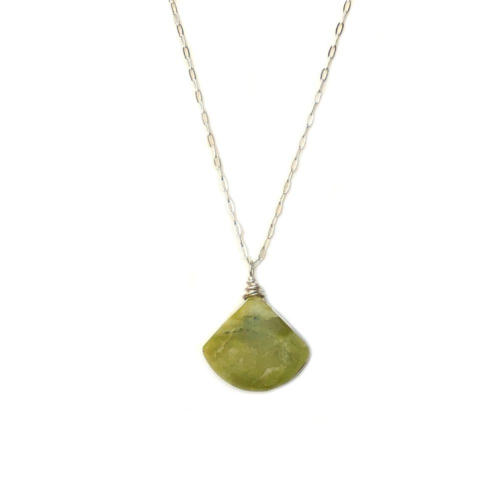 Green triangle necklace Serpentine stone by designer Coco Paniora Salinas of RUMI SUMAQ