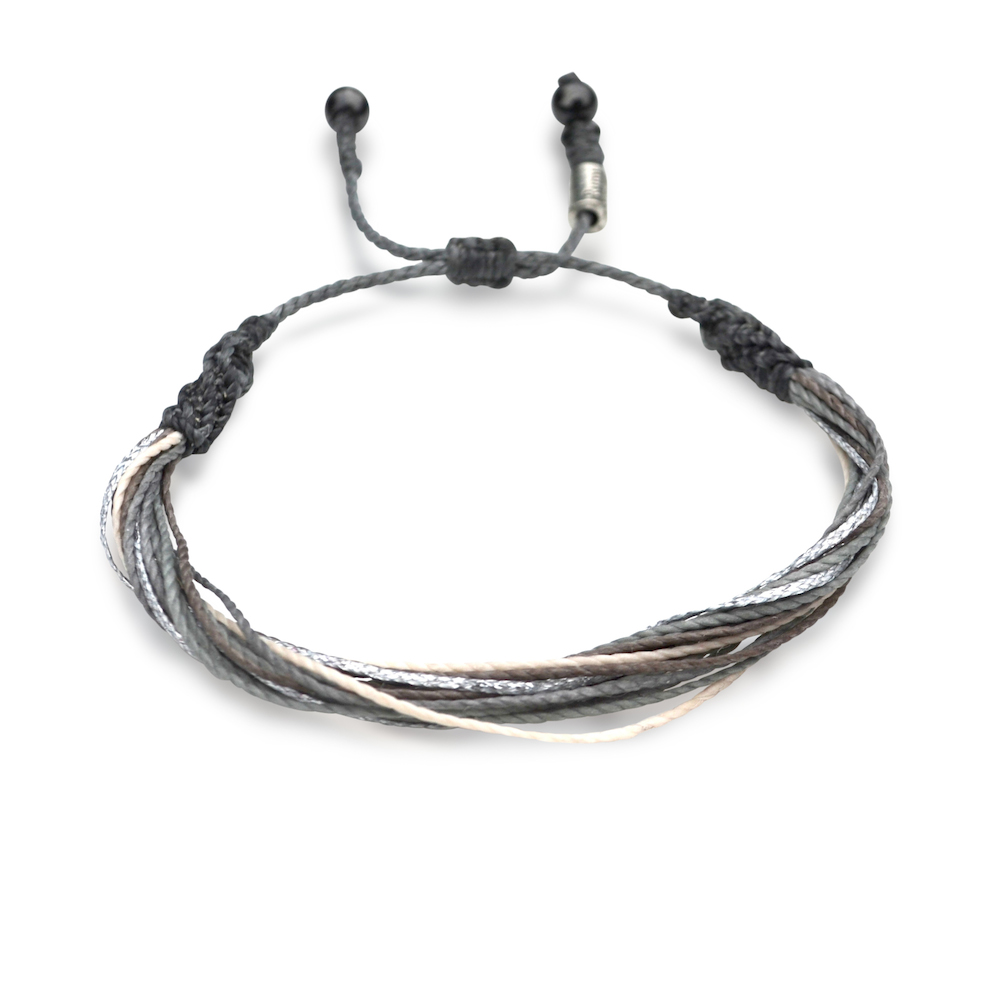 Brand-new String Surfer Bracelet Grey Silver Multi: Hand-Knotted Unisex  XG35