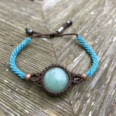 Jade stone bracelet in aqua and brown hand-knotted macrame by RUMI SUMAQ