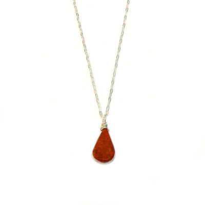 Red Jasper necklace in Sterling Silver by designer Coco Paniora Salinas of RUMI SUMAQ. Handcrafted art jewelry from Martha's Vineyard.