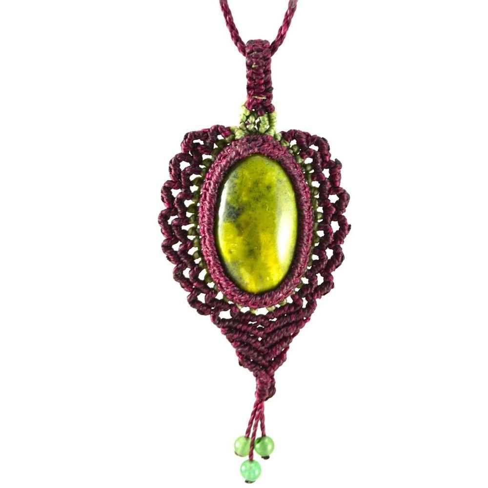 Kuyu macrame necklace by fiber art jewelry designer Coco Paniora Salinas of Rumi Sumaq