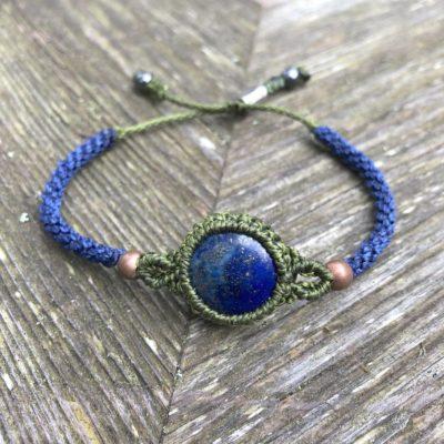 Lapis Lazuli Bracelet Blue Green Hand Knotted Macrame by Designer Coco Paniora Salinas of RUMI SUMAQ Jewelry