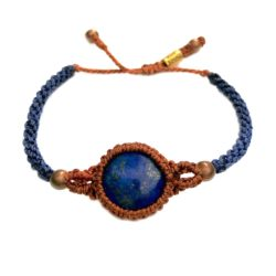 Lapis bracelet blue and rust orange macrame handwoven waxed cord | Handmade on martha's Vineyard by designer Coco Paniora Salinas of RUMI SUMAQ JEWELRY