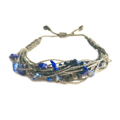 Lapis Lazuli Stone Gray String Bracelet: RUMI SUMAQ macrame knot jewelry handmade on the beautiful island of Martha's Vineyard
