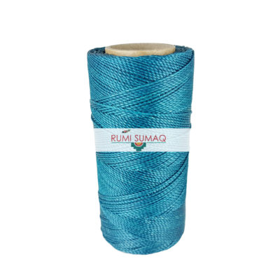 Linhasita 228 turquoise waxed polyester cord 1mm 2-ply waxed cord for macrame knotting projects, leather working, basket making, beading and jewelry making