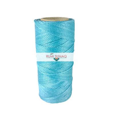 Linhasita 229 aqua blue waxed polyester cord 1mm waxed thread | Rumi Sumaq