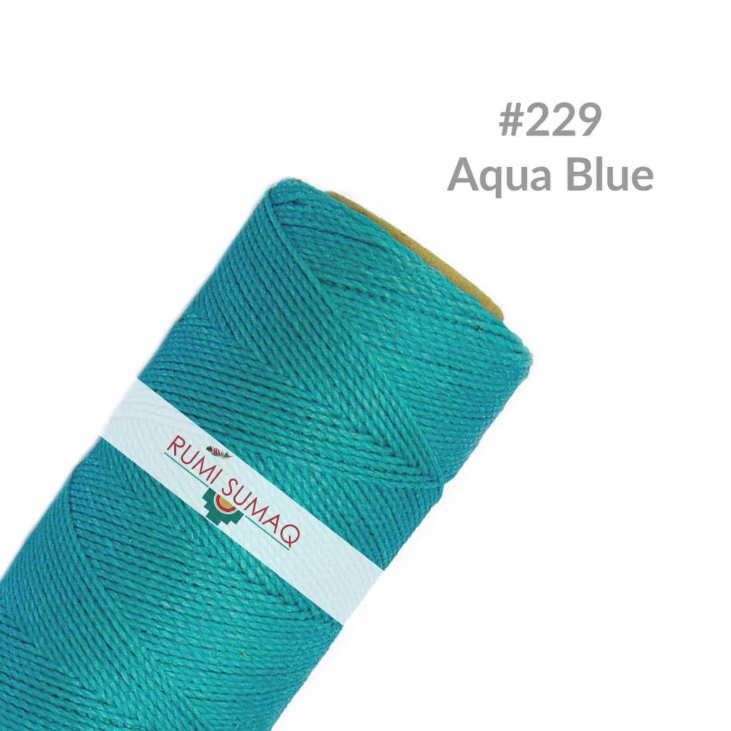 Linhasita 229 Aqua Blue 1mm Waxed Polyester Cord | RUMI SUMAQ Waxed Thread