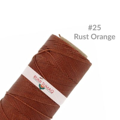 Linhasita 25 Rust Orange Waxed Polyester Cord 1mm Hilo Encerado | Rumi Sumaq Waxed Threads