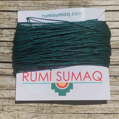 Linhasita 386 Peacock Feather Green 1mm Waxed Polyester Cord 30 Meter Skein | Rumi Sumaq Waxed Cords