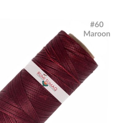 Linhasita 60 Maroon 1mm Waxed Thread | RUMI SUMAQ Burgundy Cord