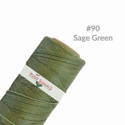 Linhasita 90 Sage Green 1mm Waxed Polyester Cord | RUMI SUMAQ