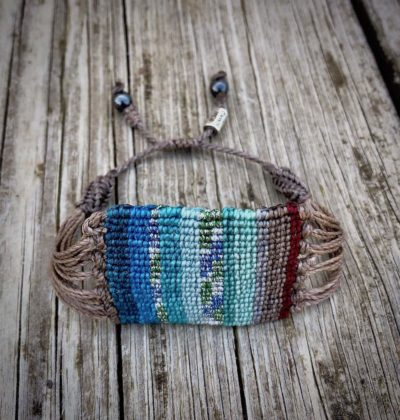 Boho Macrame Bracelet Turquoise Red Multi Stripe - Hand-knotted Bohemian Macrame Jewelry by designer Coco Paniora Salinas of RUMI SUMAQ. Handmade on Martha's Vineyard.