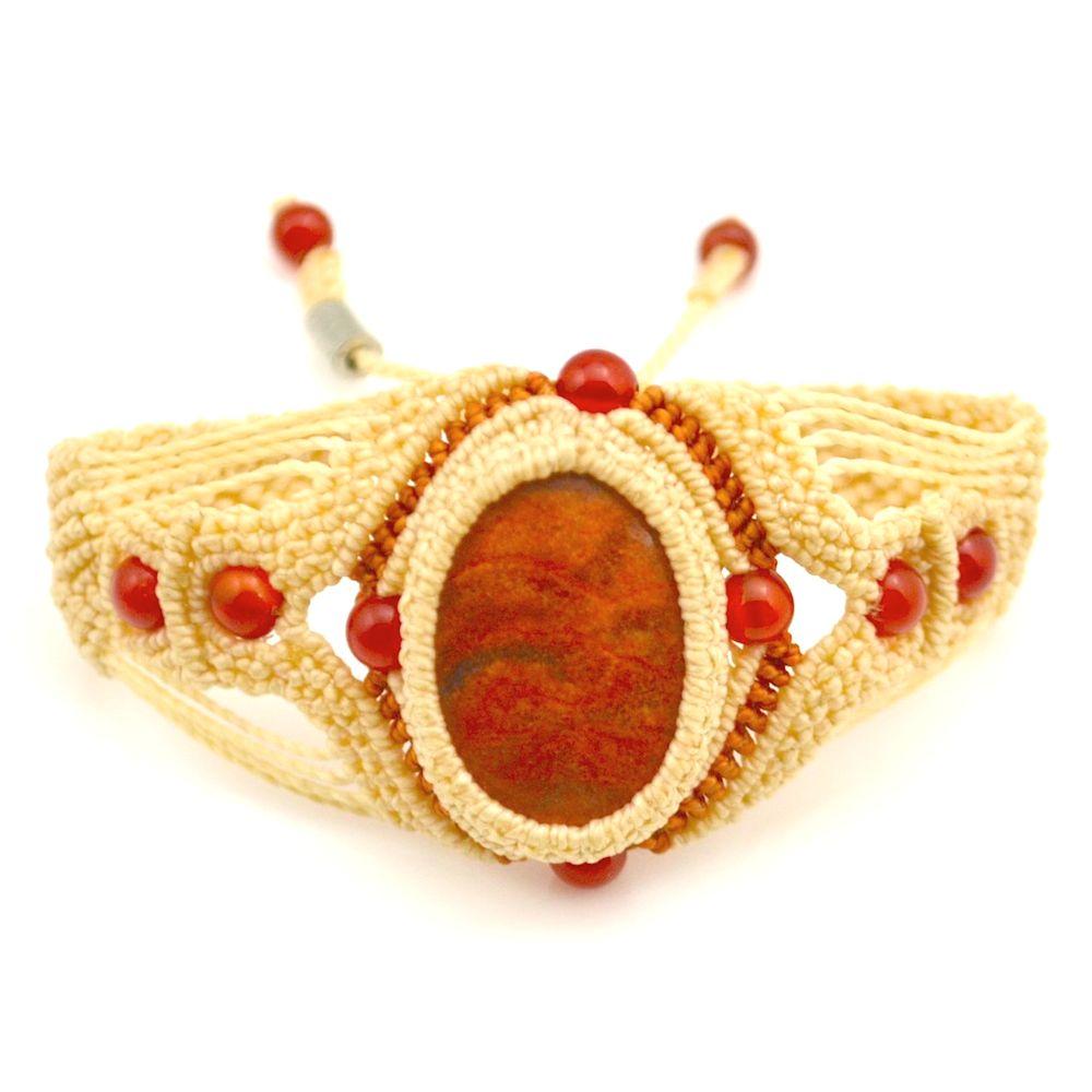 Fiber art macramé Waylla bracelet by designer Coco Paniora Salinas of Rumi Sumaq