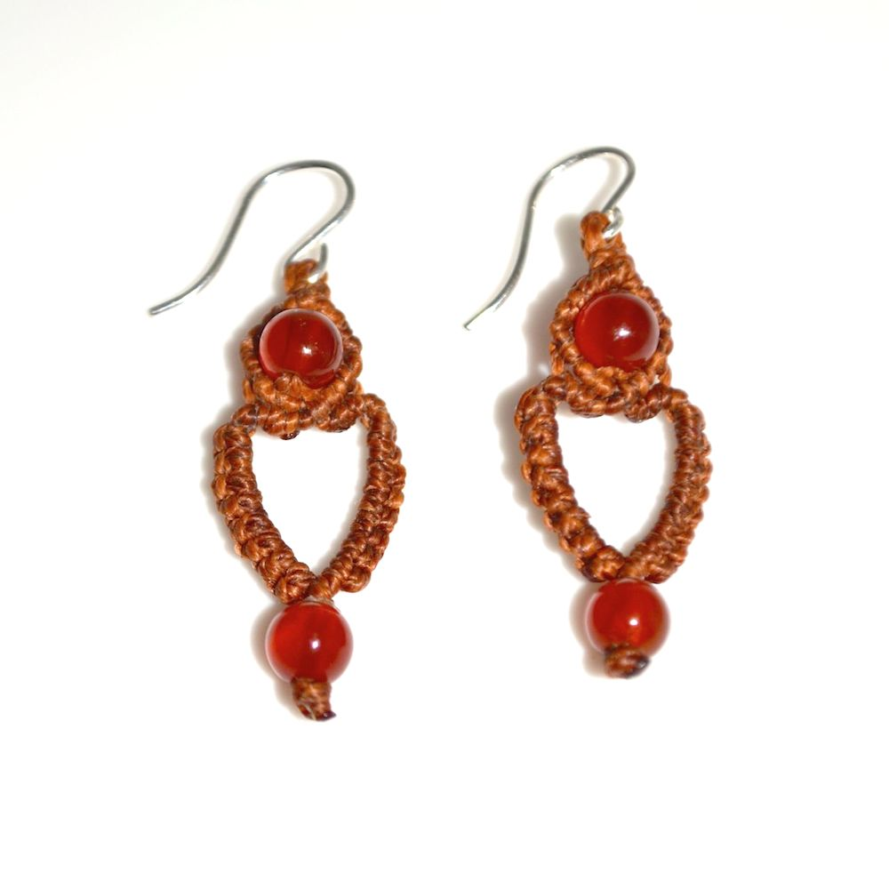Sunqu macrame heart earrings by designer Coco Paniora Salinas of Rumi Sumaq rumisumaq.com