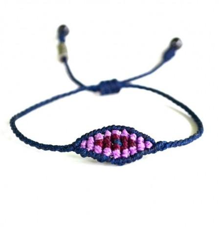 Macrame evil eye bracelet by designer Coco Paniora Salinas of Rumi Sumaq