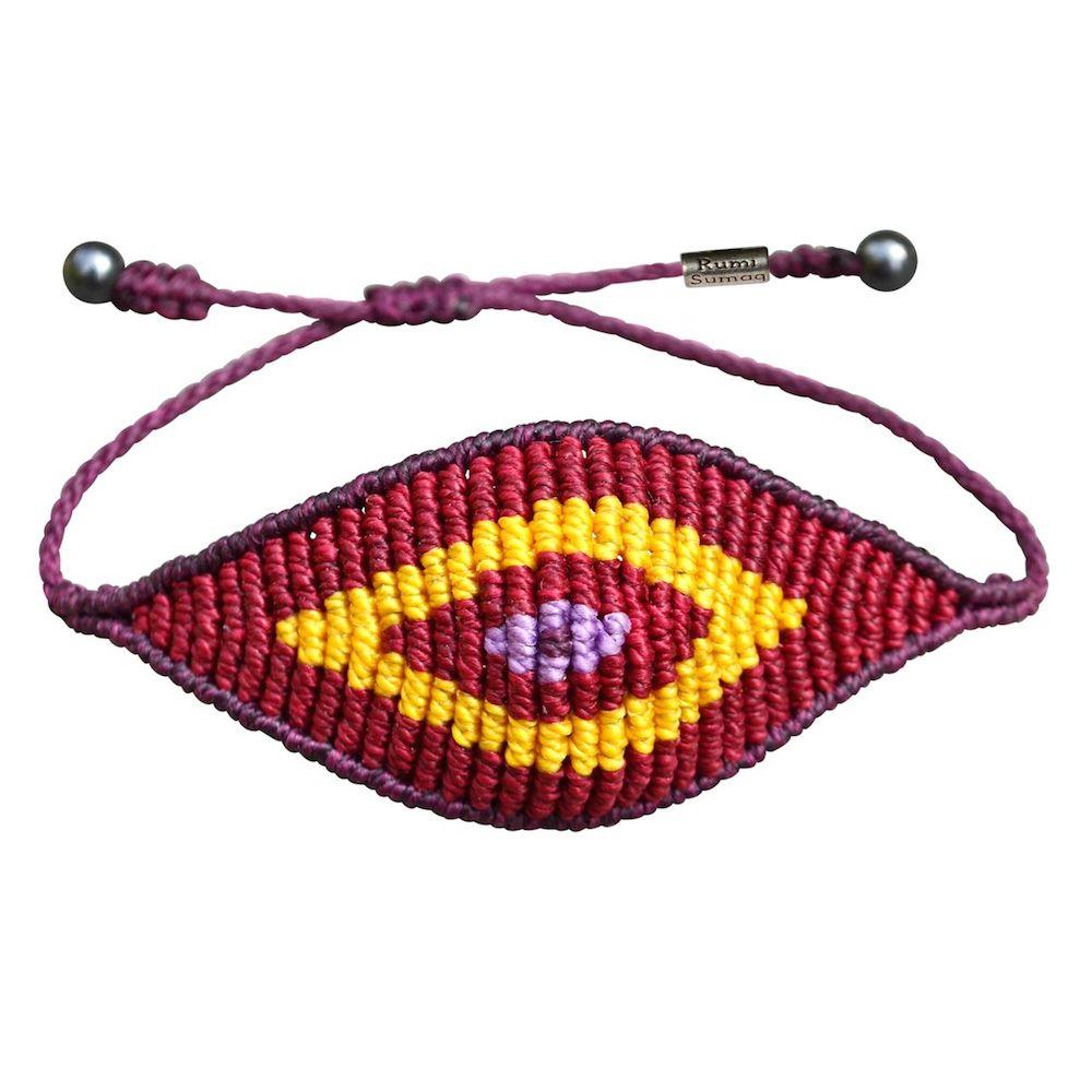 Macrame evil eye bracelet Marsala rumisumaq.com