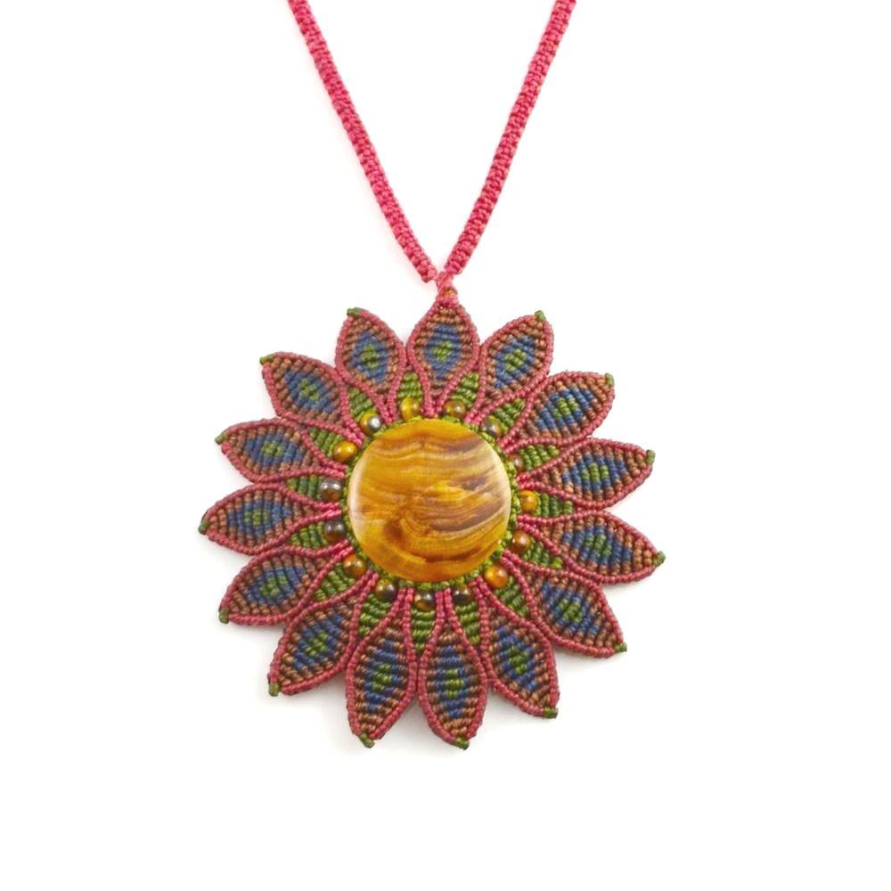 Tuktu mandala macrame flower necklace by designer Coco Paniora Salinas of Rumi Sumaq rumisumaq.com