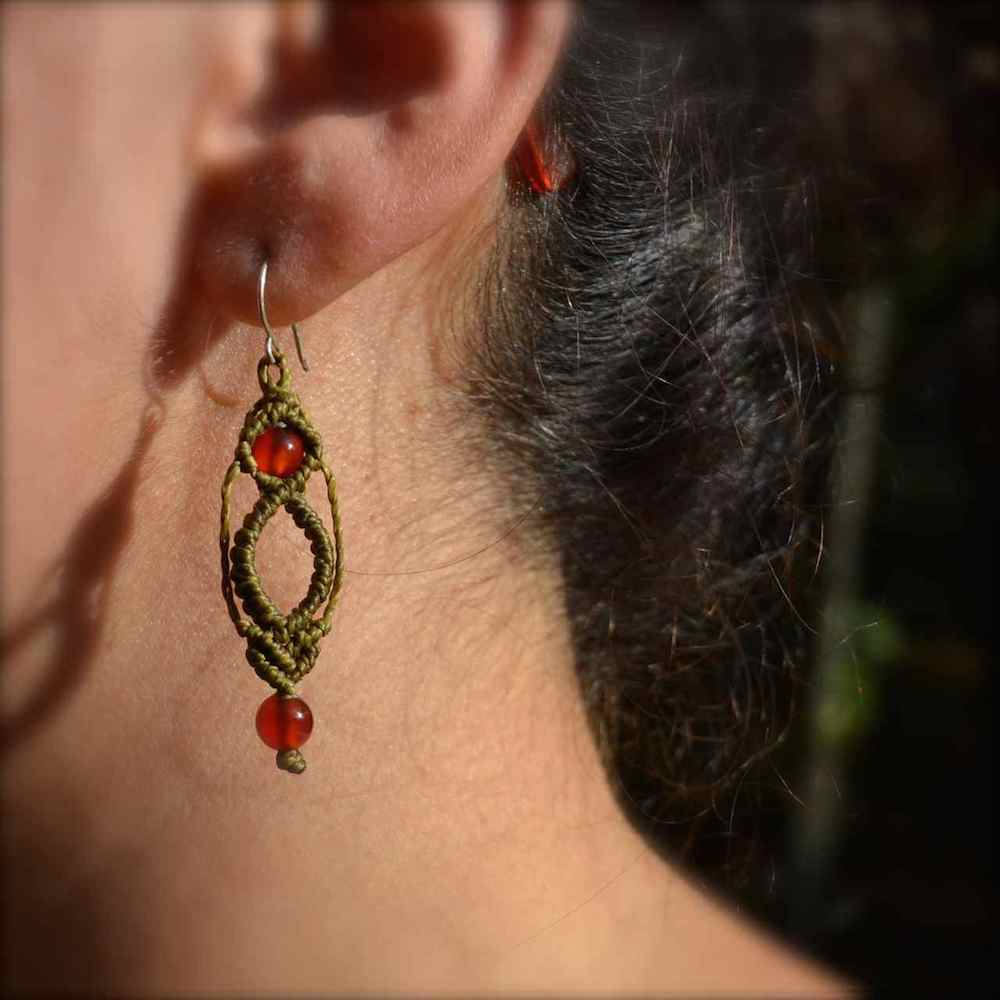 Macrame Natural Stone Earrings by Rumi Sumaq