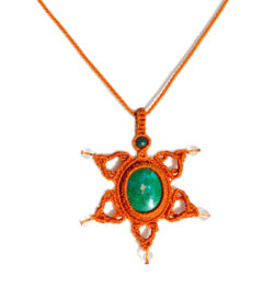 Star macrame necklace with Chrysocolla stone by art jewelry designer Coco Paniora Salinas of Rumi Sumaq