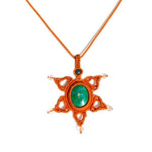 Star macrame necklace with Chrysocolla stone by art jewelry designer Coco Paniora Salinas of Rumi Sumaq