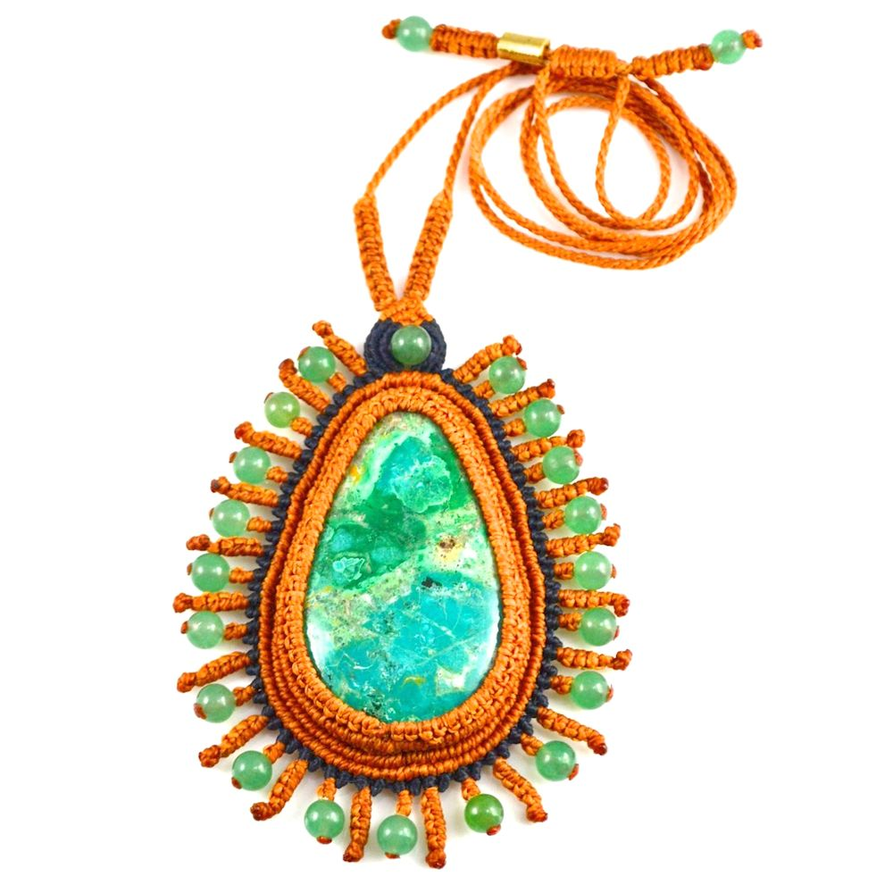 Chrysocolla Macrame Necklace Alli at rumisumaq.com