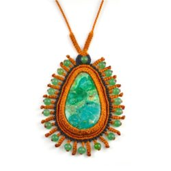 Alli Chrysocolla Macramé Necklace at rumisumaq.com