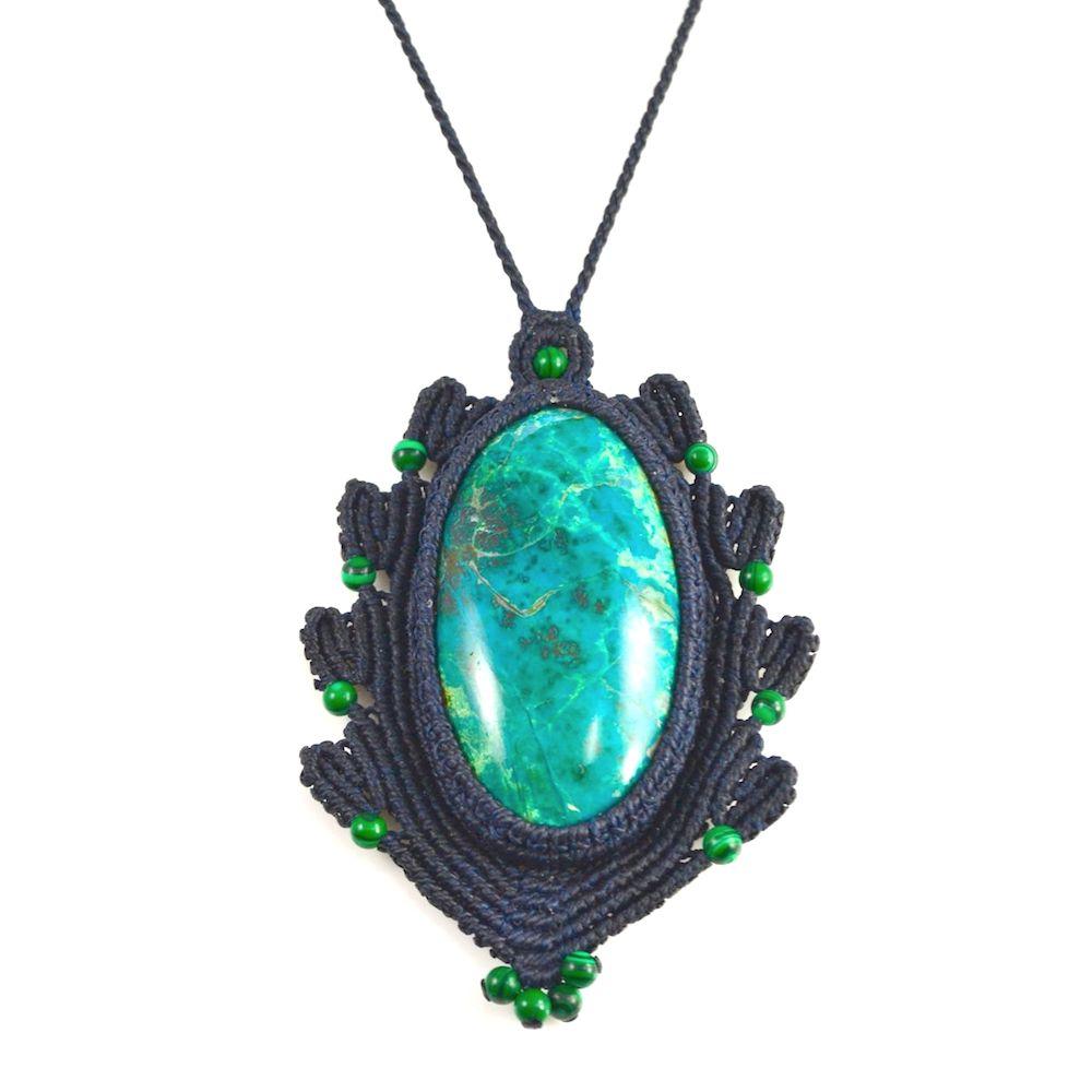 Macramé Necklace Anqas at rumisumaq.com Fiber Art Jewelry by Coco Paniora Salinas