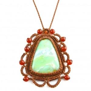 Opal Macrame Necklace Munay at rumisumaq.com