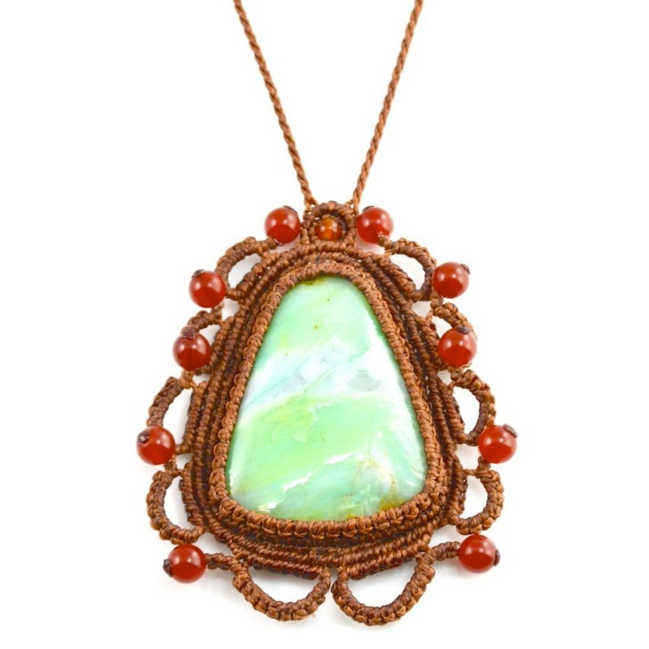 Opal Macrame Necklace Munay at rumisumaq.com
