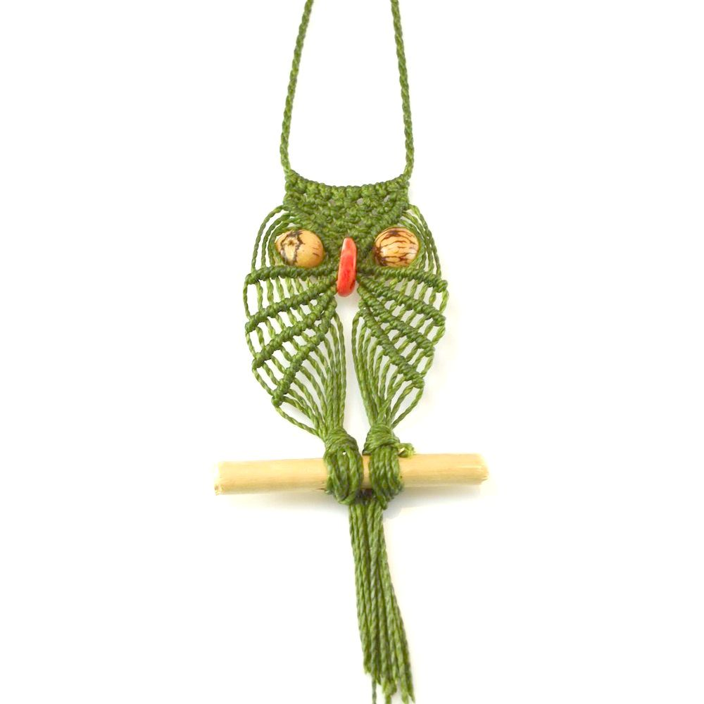 Macramé owl necklace rumisumaq.com