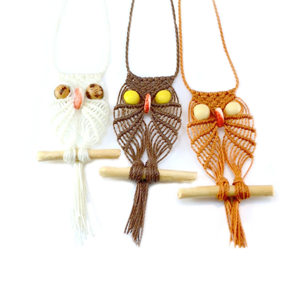 Macrame Owl Necklace by Rumi Sumaq