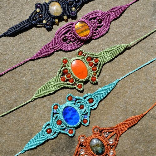 Macrame stone bracelets by Coco Paniora Salinas of Rumi Sumaq. Come see his work at the Memorial Day Vineyard Artisan Festival. #marthasvineyard
