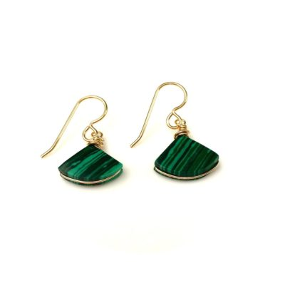 Malachite Earrings - Green Triangle Stone Drop Earrings by RUMI SUMAQ Jewelry