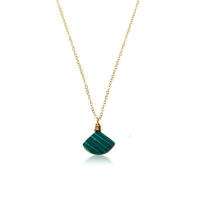Malachite triangle necklace by RUMI SUMAQ