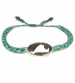 Martha's Vineyard Bracelet Island Map Aqua Rope - RUMI SUMAQ Jewelry Handmade on MV