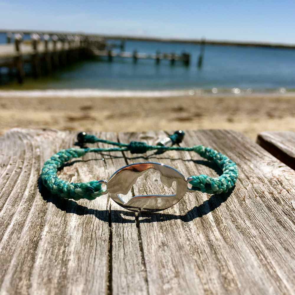 Martha's Vineyard Bracelet Island Map Aqua Rope - RUMI SUMAQ Jewelry Handmade on MV