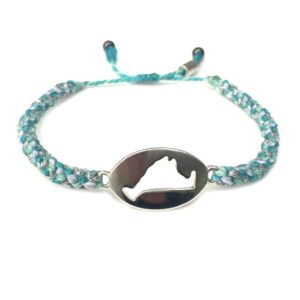 Martha's Vineyard island map bracelet aqua white silver rope: Hand-knotted surfer and sailor bracelets handmade on the beautiful island of Martha's Vineyard