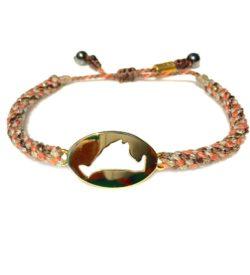 Martha's Vineyard Bracelet Island Map Brown Coral Rope: RUMI SUMAQ Jewelry Handmade on MV