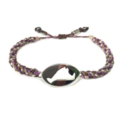 Martha's Vineyard island map bracelet brown purple rope: Hand-knotted surfer and sailor bracelets handmade on the beautiful island of Martha's Vineyard