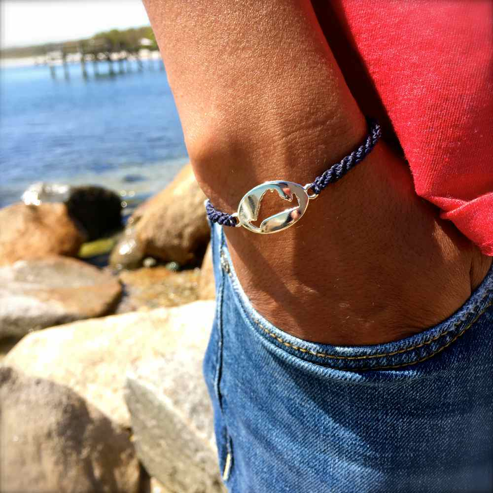 Martha's Vineyard Bracelet Island Map Navy Rope: RUMI SUMAQ Jewelry Handmade on MV