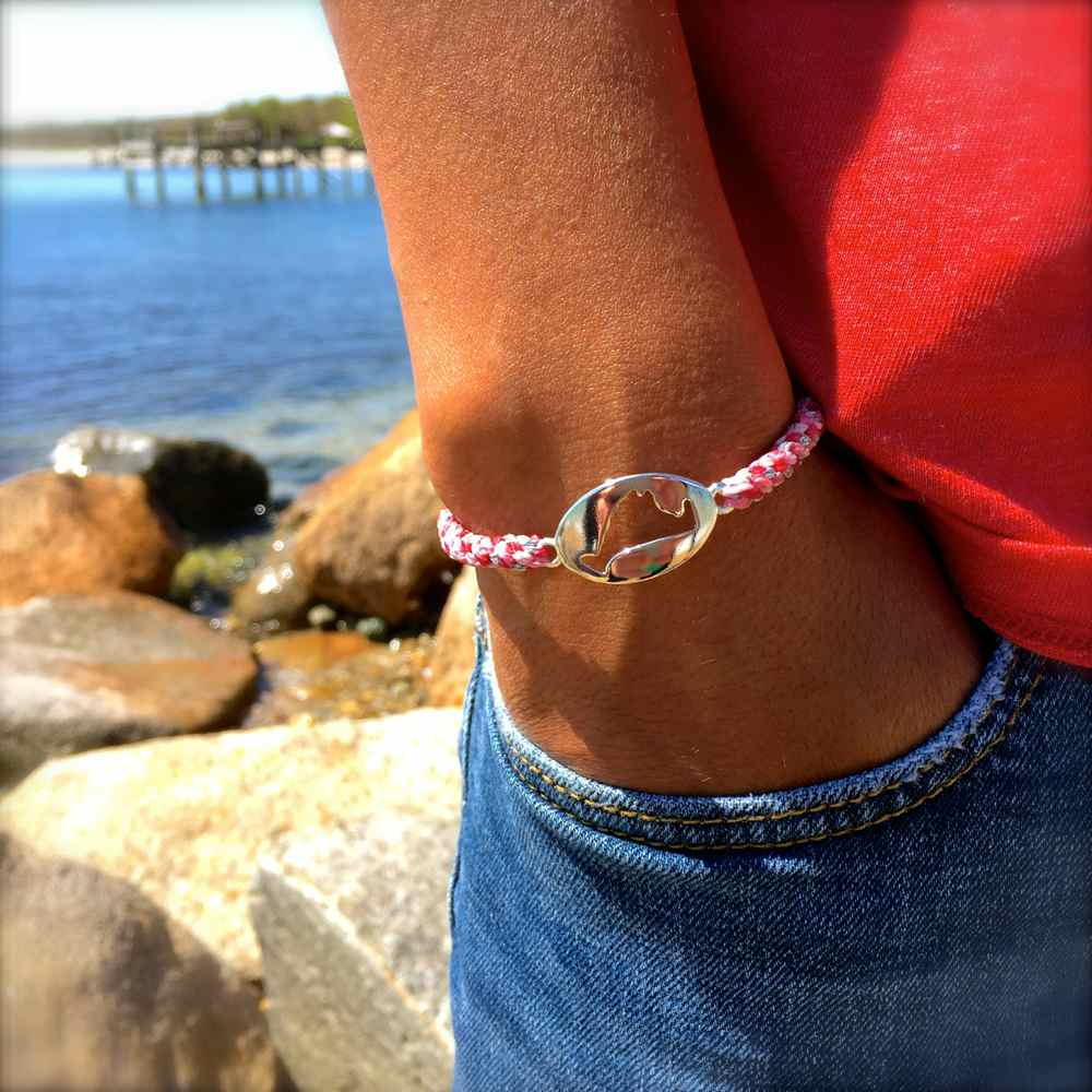 Martha's Vineyard Bracelet Island Map Pink Rope: RUMI SUMAQ Jewelry Handmade on MV
